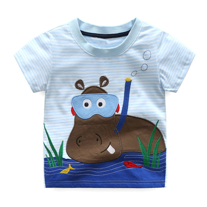 Boys Summer T Shirts Baby Boy Clothes Cotton Short Sleeve T Shirts Cotton Kids Clothes Animals Embroidery Fashion T Shirt Girls