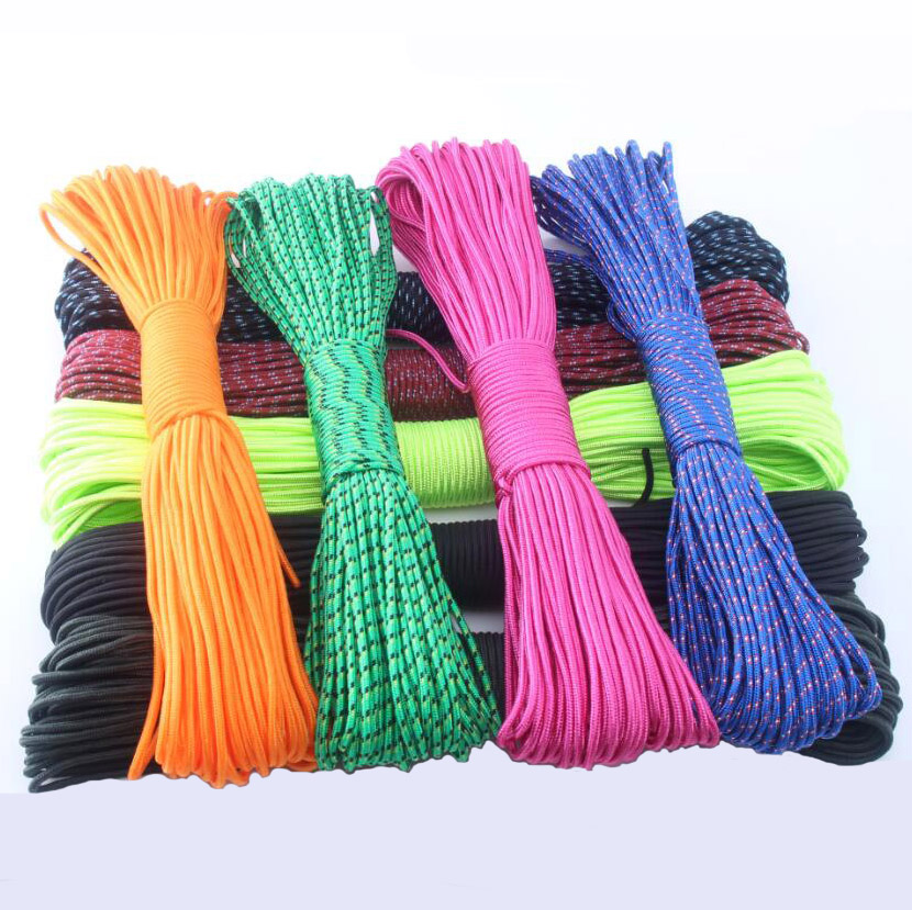 Paracord 3mm 100FT 50FT Rope 1 Strand Paracorde Cord Outdoor Survival  Equipment 24 Colors Wholesale