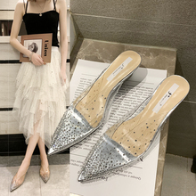 Liren 2019 Summer Fashion Sexy Lady Party Sandals Low Heels Pointed Wrapped Toe New Transparent Point Pattern Decoration Shoes