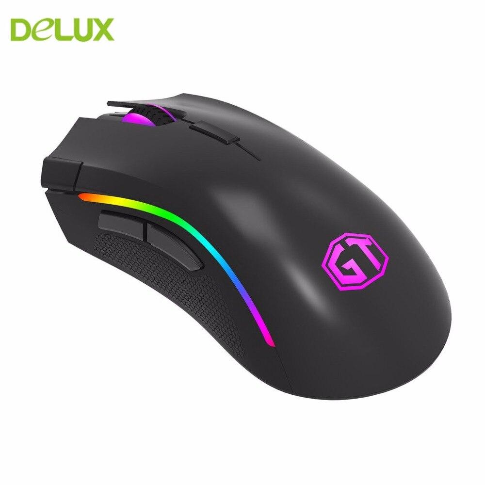 Delux Wired ratón USB M625 PMW3360 12000 DPI luminosa luminoso una sola pieza ABS apariencia mate ratón con colorido luz LED