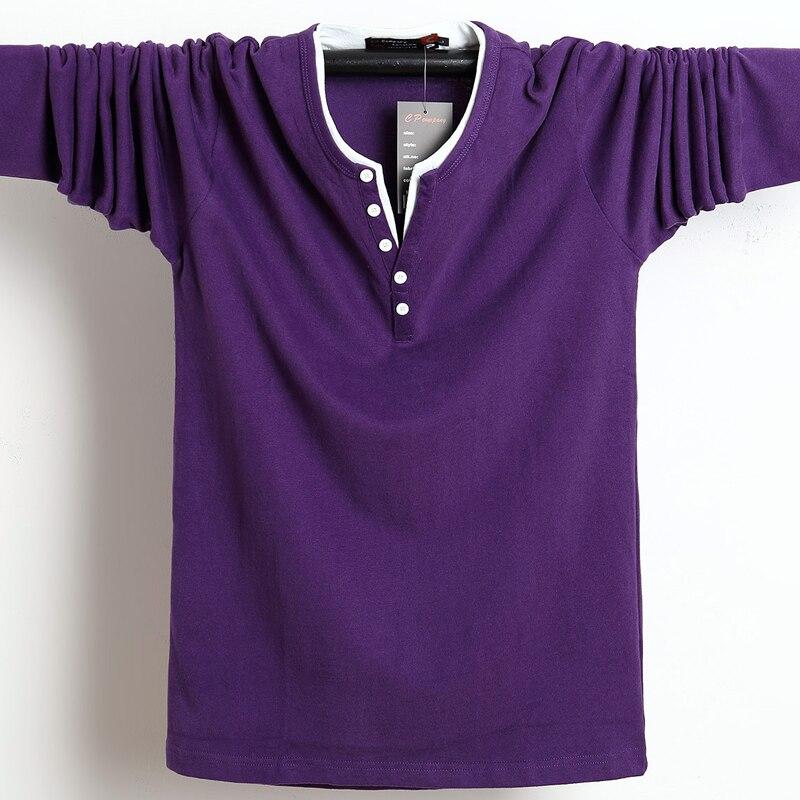 2018 Autumn Men   T     Shirt   Button Big Tall Cotton Long Sleeve   T     Shirts   Men OverSized Casual   T  -  Shirt   Solid 4xl 5xl 6xl Fit Tee Top