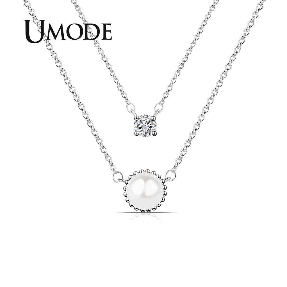 UMODE Round Pearl Necklaces Korean Layered Chain Necklaces Women Girls Gift Choker Square Cubic Zirconia Fashion Jewelry UN0334