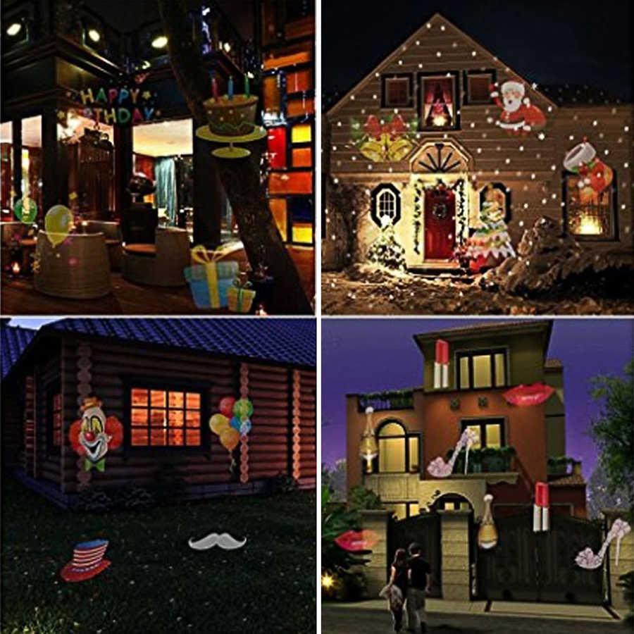 Laser Projektor Lampe 12 Muster Objektiv Umschaltbar Bunte Outdoor Gartenlampe Licht Halloween Weihnachten Landschaft Projektor Licht