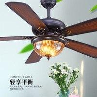 52 дюймов Ресторан потолочный вентилятор свет Гостиная Американский Ретро пульт дистанционного управления вентилятор свет античный деревя