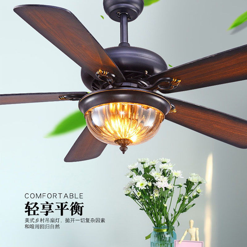 52-inch Restaurant Ceiling Fan Light Living Room American Retro Remote Control Fan Light Antique Wood Leaf Ceiling Fan Light Volume Large Lights & Lighting