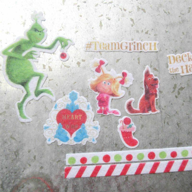 13pcs 귀여운 강아지/원숭이/개/갑판 홀 접착 종이 스티커 축제 스티커 장식 diy 카드 scrapbooking 부직포 스티커