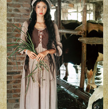 SHCAI Original Design Spring Women Vintage&Retro Personality French Rural Cotton And Linen Long Dress  Two-Piece Of Dress
