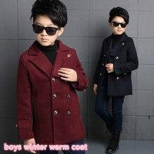 2016 новые дети марка толстая одежда для мальчиков 5-13 года дети мальчики шерстяное пальто зима теплая куртка с корона шаблон 26223ab
