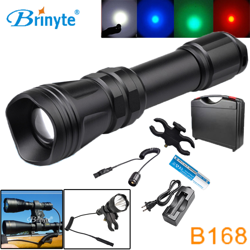 Brinyte B168 Waterproof Zoom-able XM-L2 U4 LED Hunting Flashlight Torch with Gun Mount Remote Switch Rechargeable 18650 Battery securitying red green white hunting led flashlight torch xm l2 u4 led 5 mode zoomable waterproof flash light remote switch