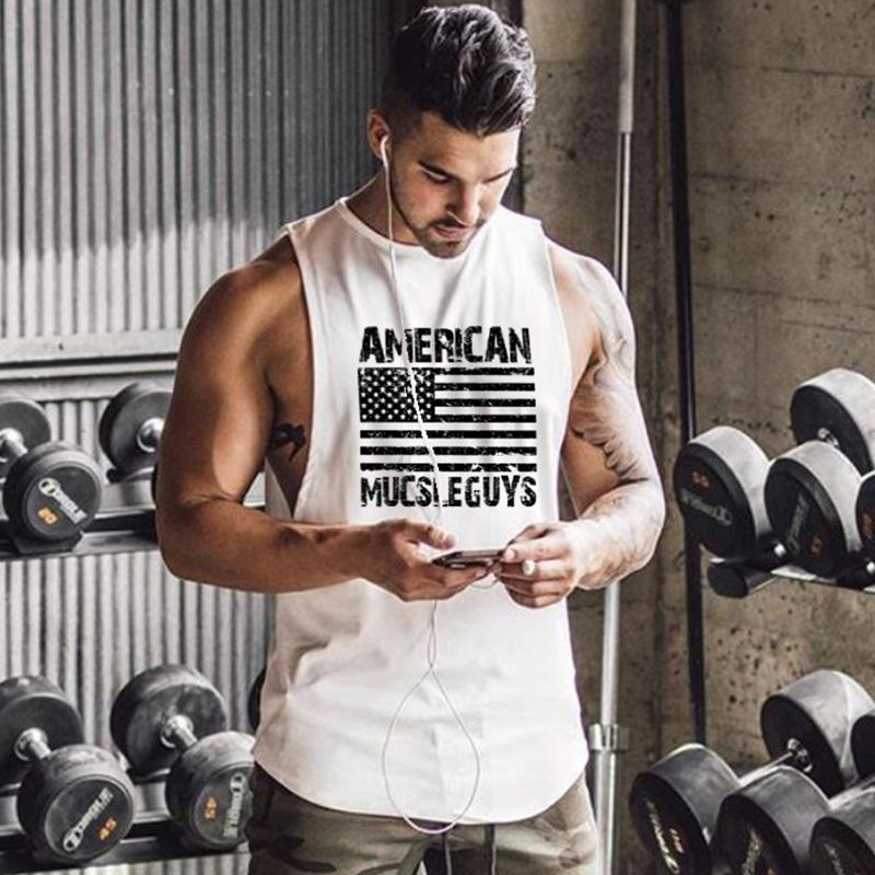 Muscleguys Brand American Men's Loose Breathable Vest Crossfit Fitness   Tank     Tops   For Men Gyms Bodybuilding Sleeveless Shirts