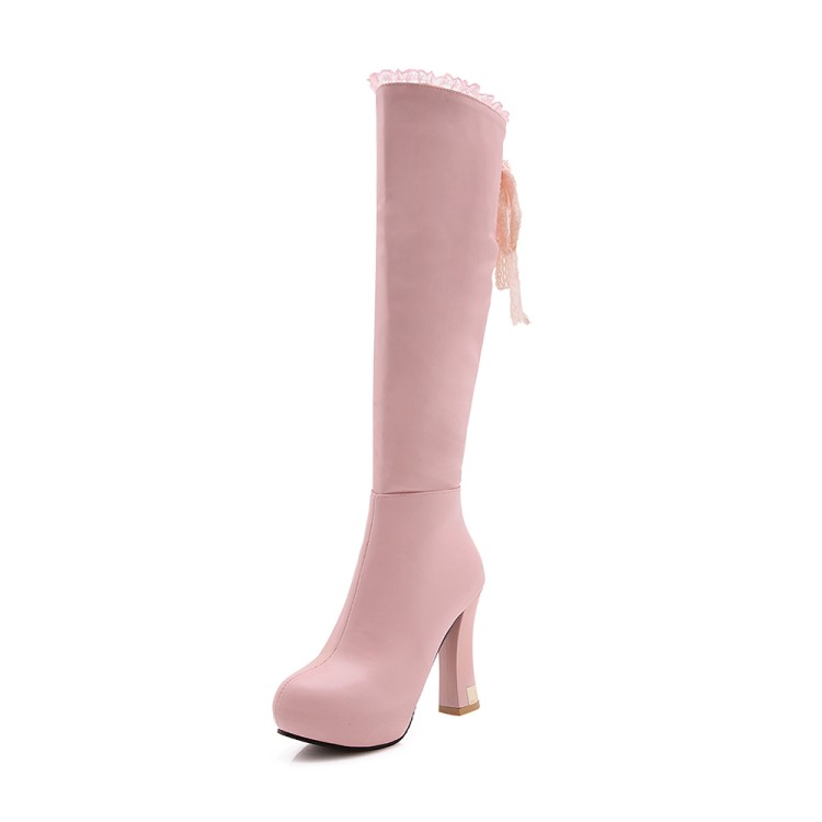 Pqecfs Couleurs amp; Genou white 3 Taille 43 Bottes haute 32 Grande Printemps Qualité 2019 pink Solide Black Automne Haute Femmes Ruches FrqgFT8