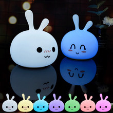 Cartoon Rabbit LED Night Light Touch Sensor Colorful USB Rechargeable Silicone Bunny Animal Lamp for Children Kids Baby Toy Gift