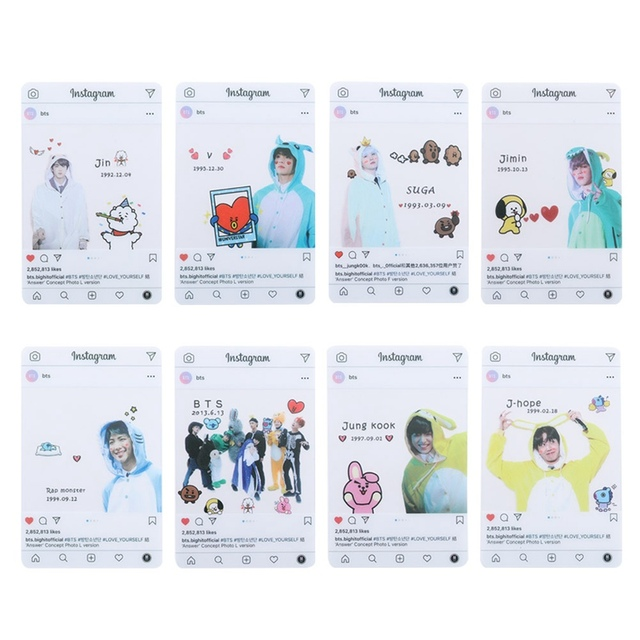 US $1 47 |8 Pieces / Set Kpop BTS Muster PVC Transparent Card Bangtan Boy  Card Fan Gift Series Party Screenshots Stationery Set-in Stationery Set  from