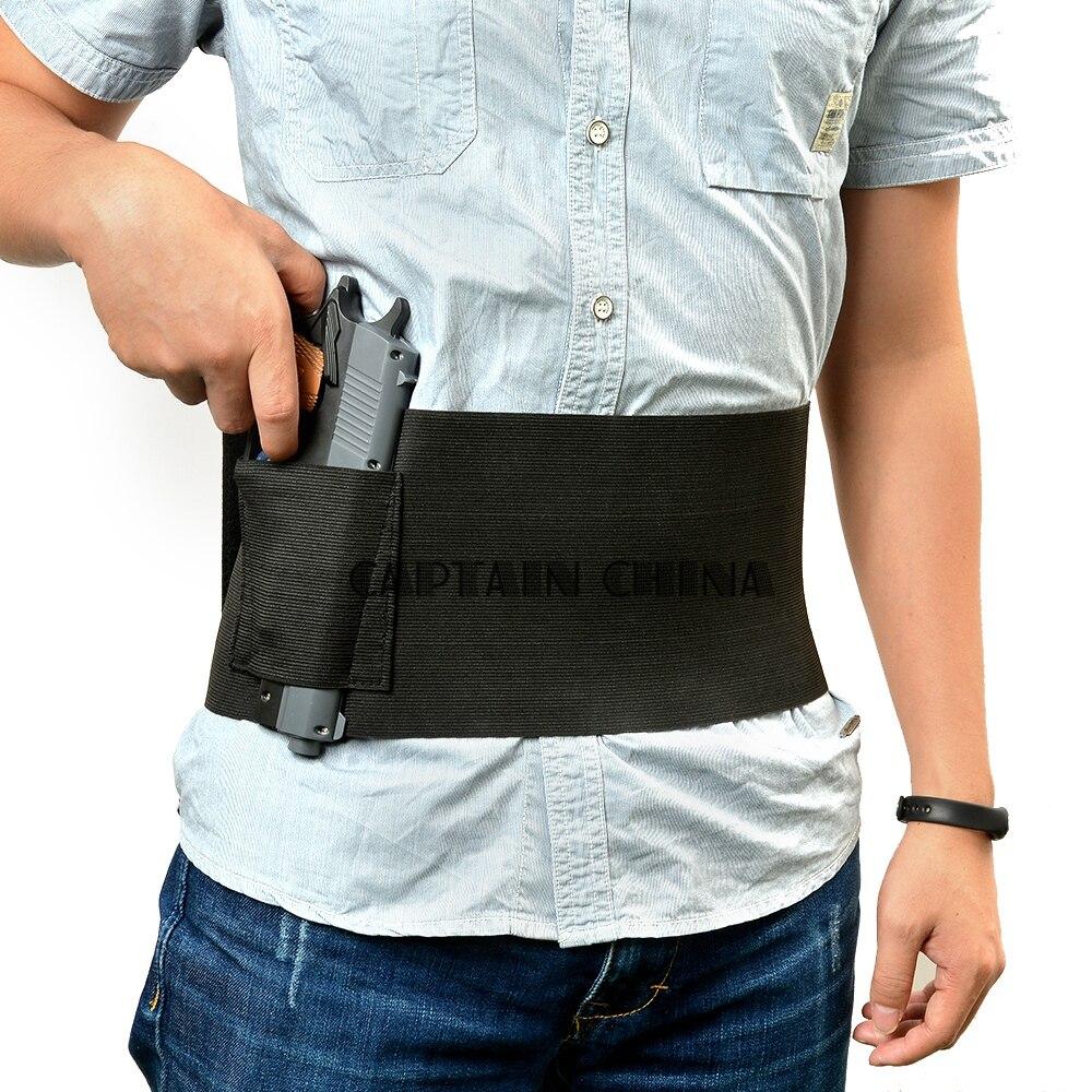 Taktisk Justerbar Elastisk Skjuten Elastisk Midja Pistol Gun Holster 2 Magzine Pouch Black