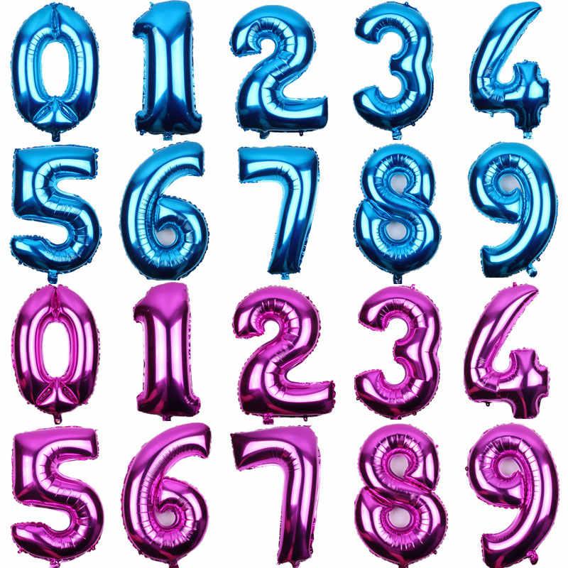 16 32 pulgadas número Globos lámina oro plata azul Digital Globos boda cumpleaños fiesta decoración bebé ducha suministros