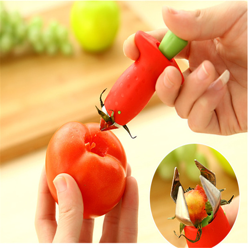 1 шт. Клубничные очистители металла+ пластиковые фрукты удаления стебли устройства томатные стебли клубничный нож для удаления стебля фруктов слайсер