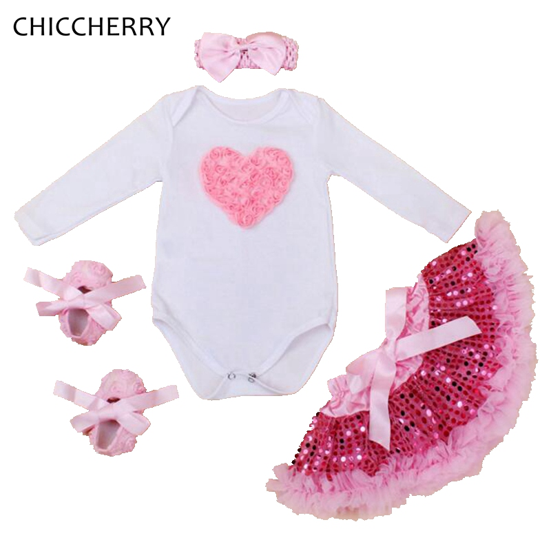 Lace Ruffle Love Valentines Day Baby Girl Clothes Long Sleeve Bodysuit Tutu Skirt Headband Crib Shoes Toddler Birthday Outfits