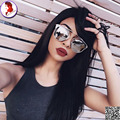 8A 150 Density Human Hair Wig Silky Straight Glueless Full Lace Wigs With Baby Hair Lace Frontal Wig  Virgin Hair With Bangs