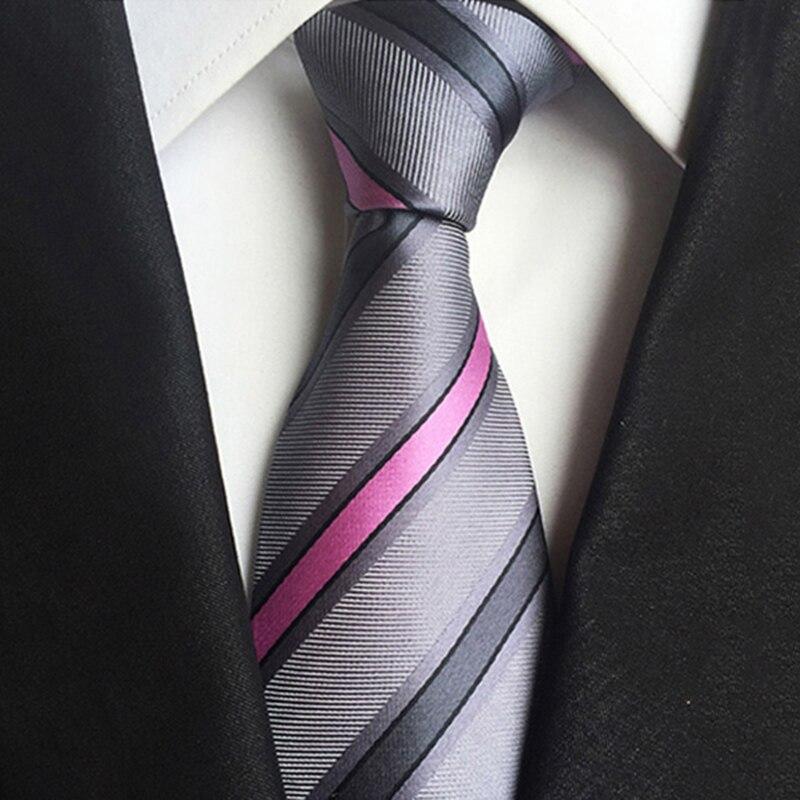 Men Tie Business 8CM Striped Necktie Mens Wedding Parties Dress Jacquard Ties Gray Cravats Male Accessories Gravatas Para Homens