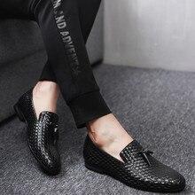 Merkmak marca Zapatos 2018 nueva transpirable cómodo hombres Mocasines lujo borla weave hombres pisos men casual Zapatos grande tamaño 48