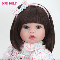 22 inches Handmade Doll Reborn Silicone Vinyl Bebe Dolls Lovely Girl Doll With Clothes Bear Menina De Silicone Children Gift