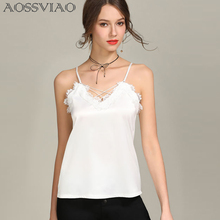 AOSSVIAO Black Tank Tops Women Autumn Strap Lace Top Sexy Female Satin Slip Crop 2019 Summer Ladies Silk Camisole Cropped