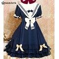 2016 Summer Blue Cute Lovely School Princess Lolita Dress Girl & Women Sweet Kawaii Short Sleeve One-piece Navy Sailor Dress