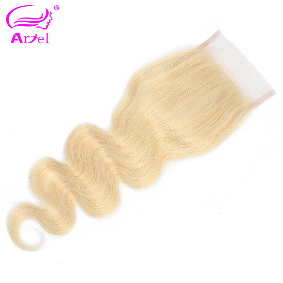ARIEL Lace Closure Hair Blonde Body-Wave 100%Human-Hair Remy Malaysian 613 with Baby
