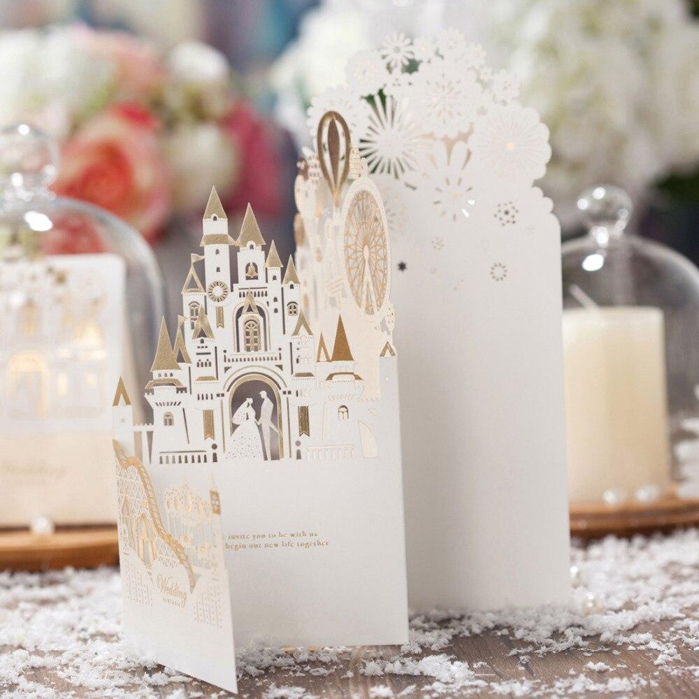 50 piezas corte láser 3D champán oro tarjetas de invitaciones de boda con castillo creativo hueco para compromiso nupcial ducha CW5093-in Tarjetas e invitaciones from Hogar y Mascotas    3