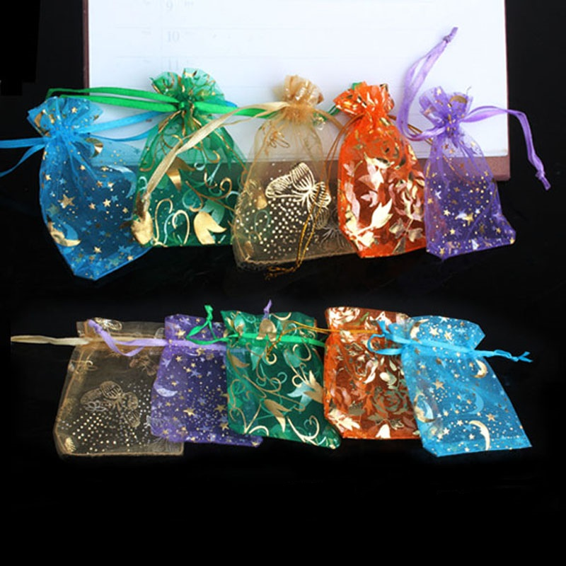 50Pcs/lot Organza Gifts Bags Mixed Color Candy Bags Party Wedding Favors Packaging Pouch Wedding Decoration Suppli