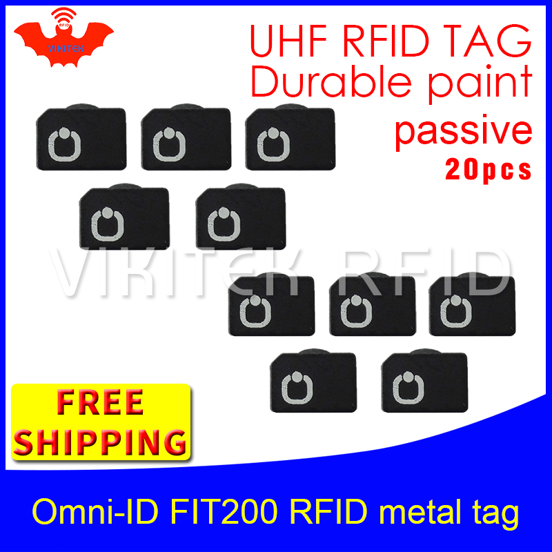 UHF RFID metal tag omni-ID fit 200 915m 868mhz Alien Higgs3 EPC 20pcs free shipping durable paint very small passive RFID tags 1000pcs long range rfid plastic seal tag alien h3 used for waste bin management and gas jar management