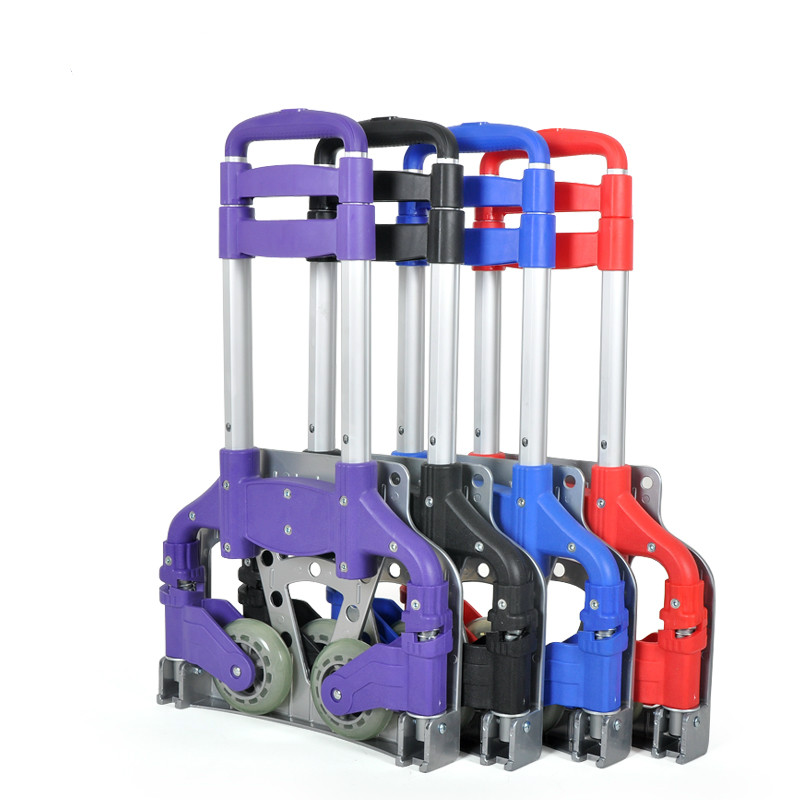 Aluminum Alloy Portable Shopping Cart Folded Large Capacity Trolley bag Four Small Wheels Trolley With Waterproof Coating Bag