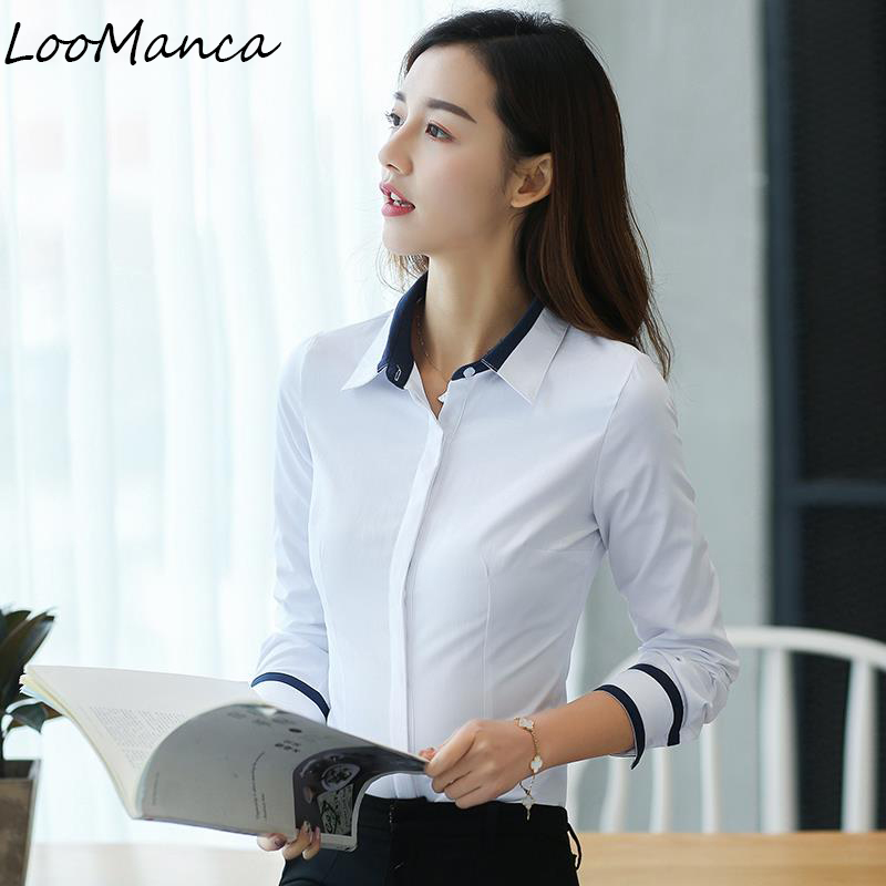 b6a0768bc970c Formal Womens Blouses Cotton Tops and Blouses Elegant Long Sleeve Ladies  Shirts White Work Wear Blusas