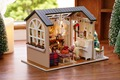 DIY Wooden Dollhouse 3D Kit Doll house Model--Beautiful Living Room & Furiniture Model Light with Dust cover