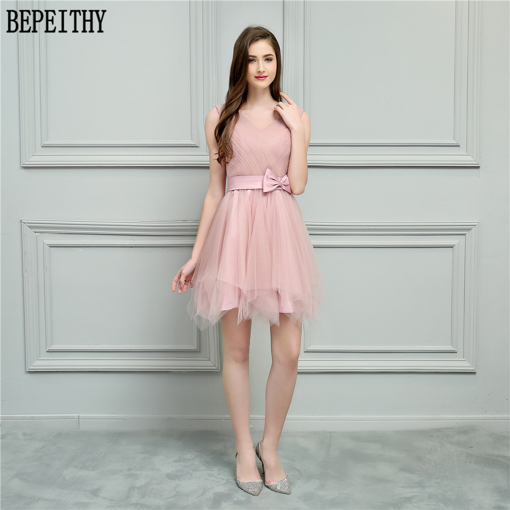 BEPEITHY Vestido De Festa Longo New Arrival V Neck Bow Pleats Tulle A-Line Short Prom Dresses Bridesmaid Dresses 2018