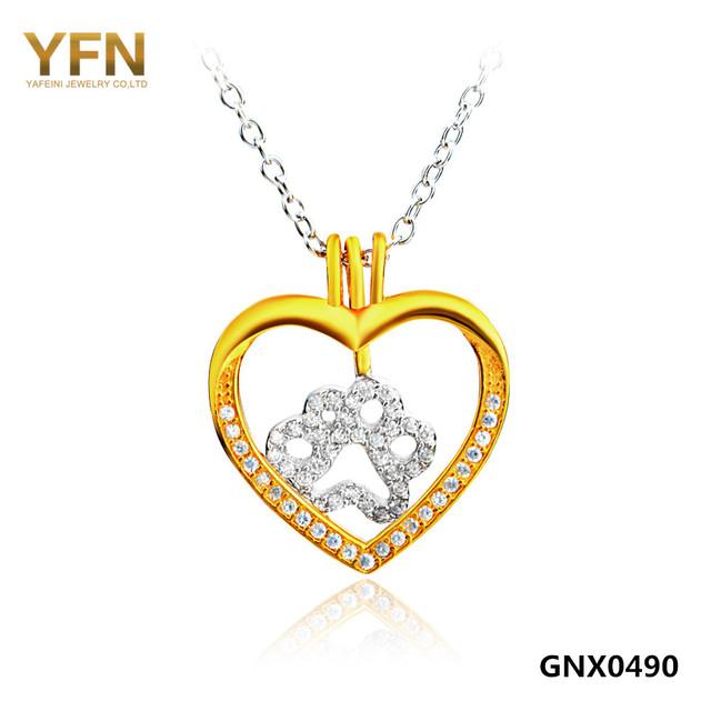 YFN Nueva Moda Auténtica Plata de Ley 925 Corazón Colgante de Oro de Joyería de Las Mujeres Collar de La Pata Del Perro Collar Del Encanto de La Joyería