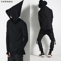 2017 גברים Harajuku VERSMA ברדס שחור מכשפה כובע היפ הופ גברים מכסה המנוע שרוול קצר נים מעילים להאריך ימים יותר Streetwear