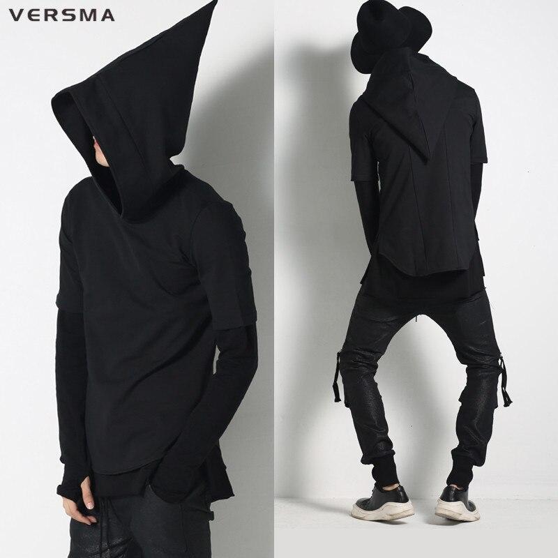 VERSMA 2017 Harajuku Con Cappuccio da Uomo Nero Strega Cappello Hip Hop Uomo Felpe Con Cappuccio e Felpe Manica Corta Cappuccio Cappotti Outwear Streetwear