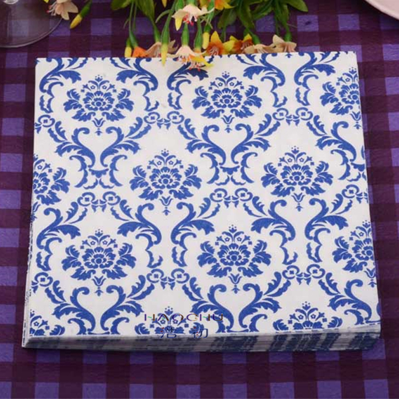 Us 6 6 15 Off Haochu 40pcs Elegant Napkins Blue Wedding Decor Party Table Supplier Tissue Paper Flower Arrangement Guardanapo Banquet Towel In