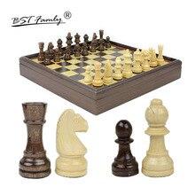 BSTFAMLY Wood Chess Set Game of International Chess Chessman 31*31*5.3cm Box Chessboard Chess Game King Height 6.2cm I23