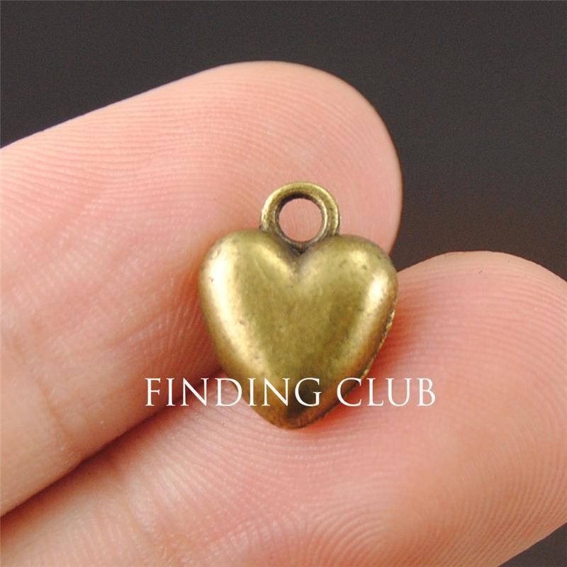 30 piezas vintage plata/bronce amor Puff corazón encantos para diy collar pulsera joyería hallazgos A1223/A1224