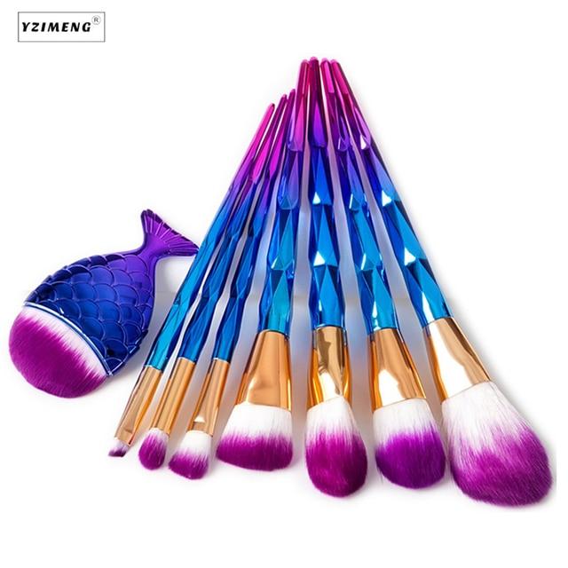 7Pcs Unicorn Makeup Brushes Thread Rainbow Professional Make Up Brush Mermaid Powder Foundation Eyebrow Eye Contour Blush Brush 5