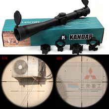 KANDAR 10-40×56 SFIR Hunting Shooting Rifle Scope Glass Etched Side Parallax R/G Illuminated Riflescope with Two Styles Rings