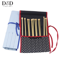 New 1pc Fabric Crafts White Dots Knitting Needles Organizer Bag DIY Sewing Tools Holder Bag 41*30cm 2 Colors