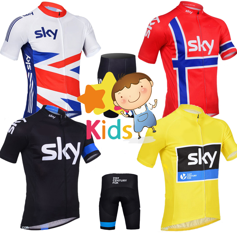 2018 sky Cycling Clothing for Kids Cycling Jersey Sets Children Short Sleeve Tops Shorts Boys MTB Bike Wear Sports Ropa Ciclismo 2016 women cycling jersey shorts green cats mtb bike jersey sets pro clothing girl top short sleeve bike wear bicycle shirts