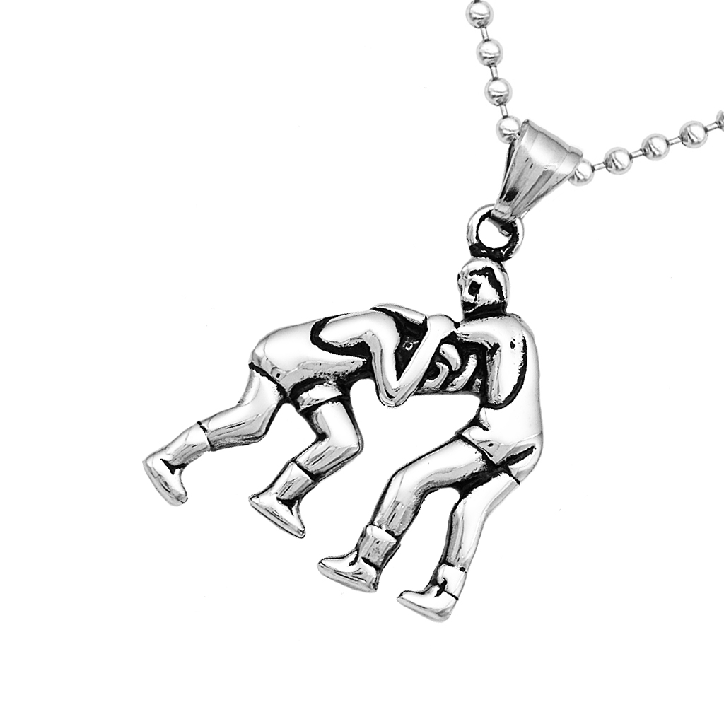 Silver Stainless Steel Two People Wrestling Pendant Sports