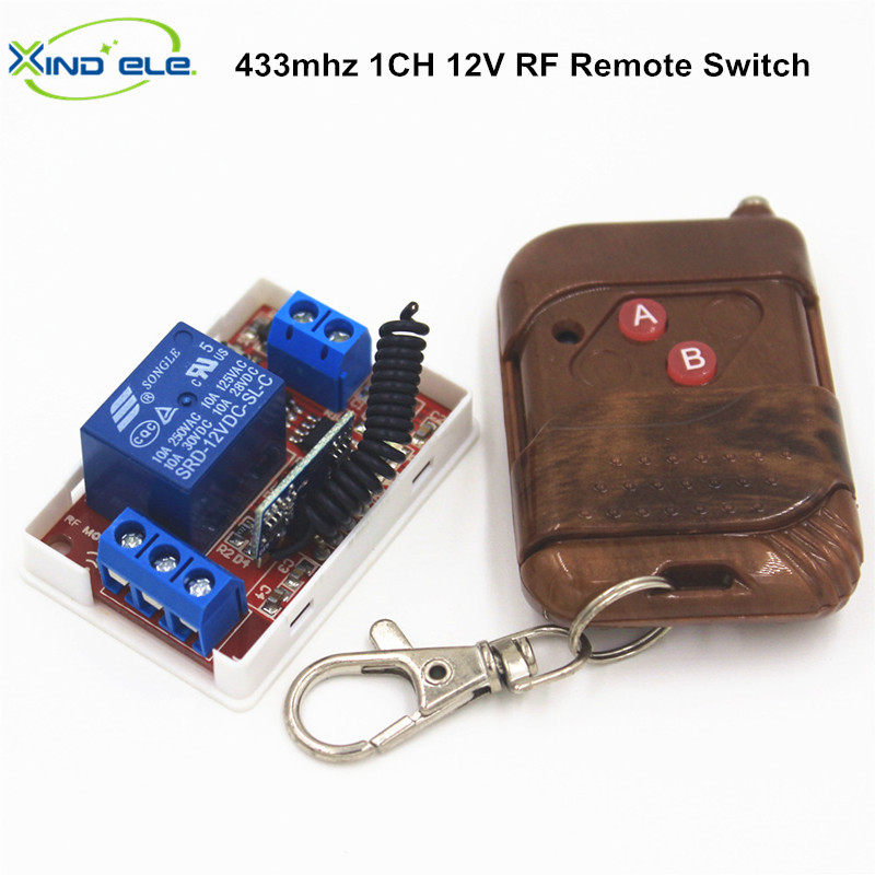 1CH DC 12V 433Mhz Universal Wireless Remote Control Switch 10A Receiver Relay Module RF 433 Mhz Controls For Light Garage Door 660v ui 10a ith 8 terminals rotary cam universal changeover combination switch