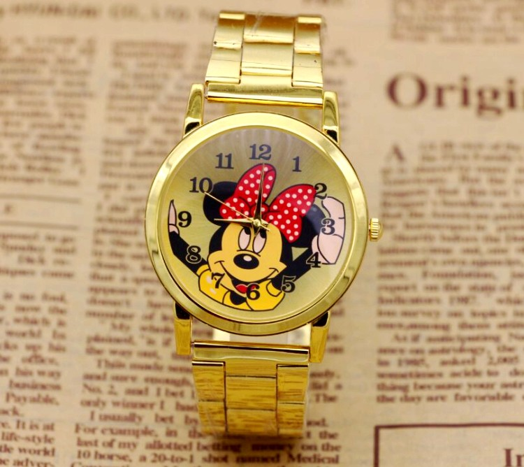 New Fashion Mouse Delicate hollow dial strap wristwatches quartz watch women rhinestone dress watches mickey watch kids watch