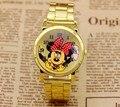 New Fashion Rato Delicado oco cinta mostrador do relógio de pulso de quartzo mulheres rhinestone vestido relógios mickey assistir crianças assistir