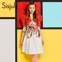 Sisjuly Vintage Summer Dress 1960s Floral Print Patchwork V Neck Sexy Party Dresses Puff Sleeve Swing